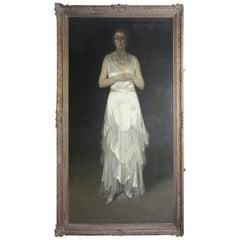 """1935 Huge Oil on Canvas Herbert James Gunn Royal Academy """"The Cadaverous Lady"""""""