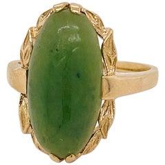 1935 Jade Ring, Genuine Nephrite Jade Set in Yellow Gold, Vintage Nephrite Jade