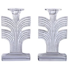 1935 Rene Lalique Pair of Tokyo Candleholders Clear Glass