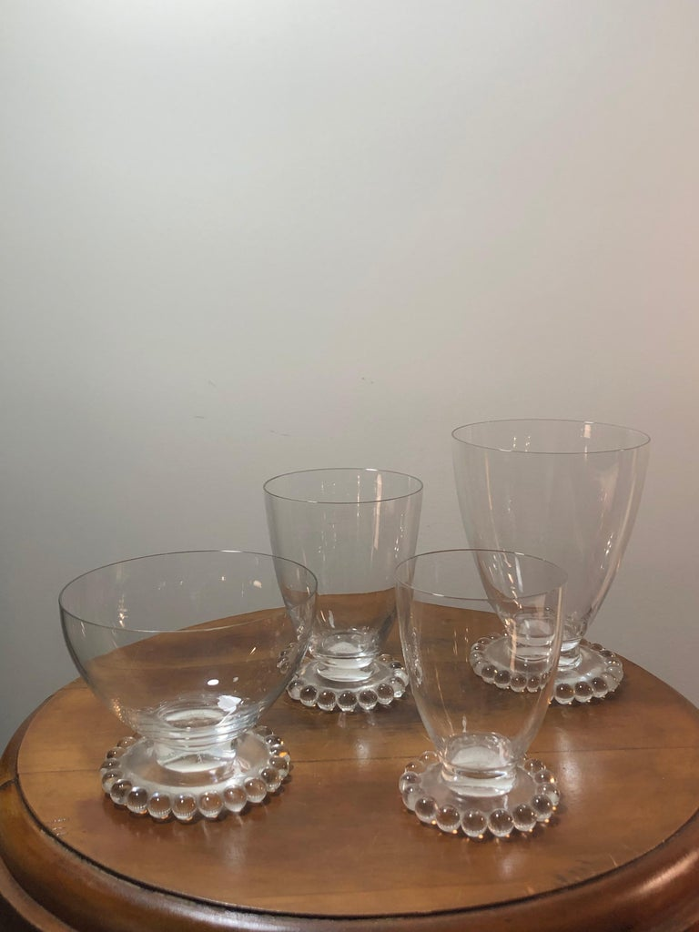 Set of 32 drinking glasses made by René Lalique in 1935. Model is nammed
