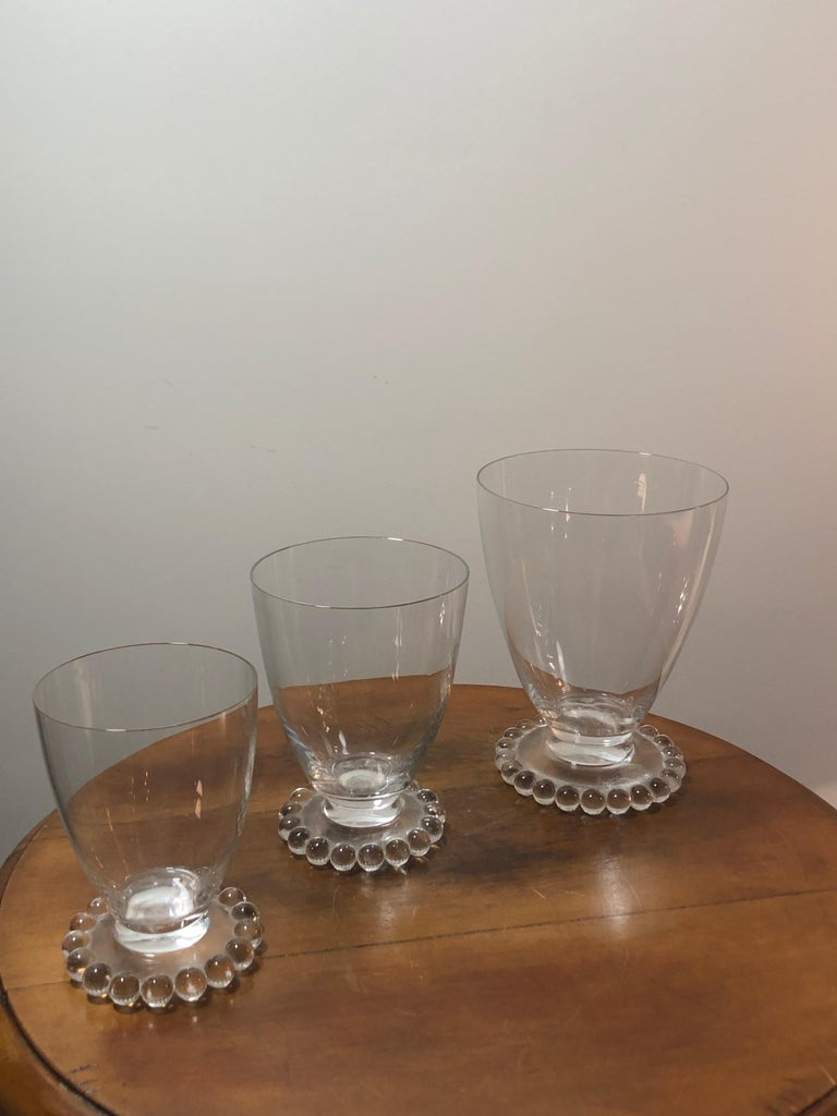 Art Deco 1935 Rene Lalique Set of 32 Drinking Glasses Boules Water Wine Champagne Madere For Sale