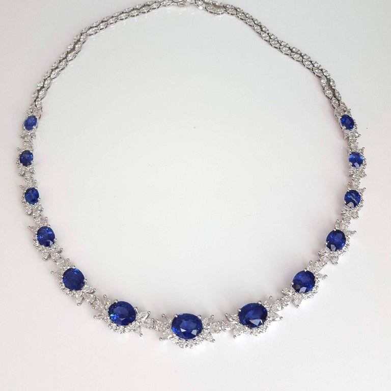 Contemporary 19.36 Carat Oval Cut Blue Sapphire and Diamond Necklace in 18 Karat White Gold For Sale