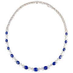 19.36 Carat Oval Cut Blue Sapphire and Diamond Necklace in 18 Karat White Gold