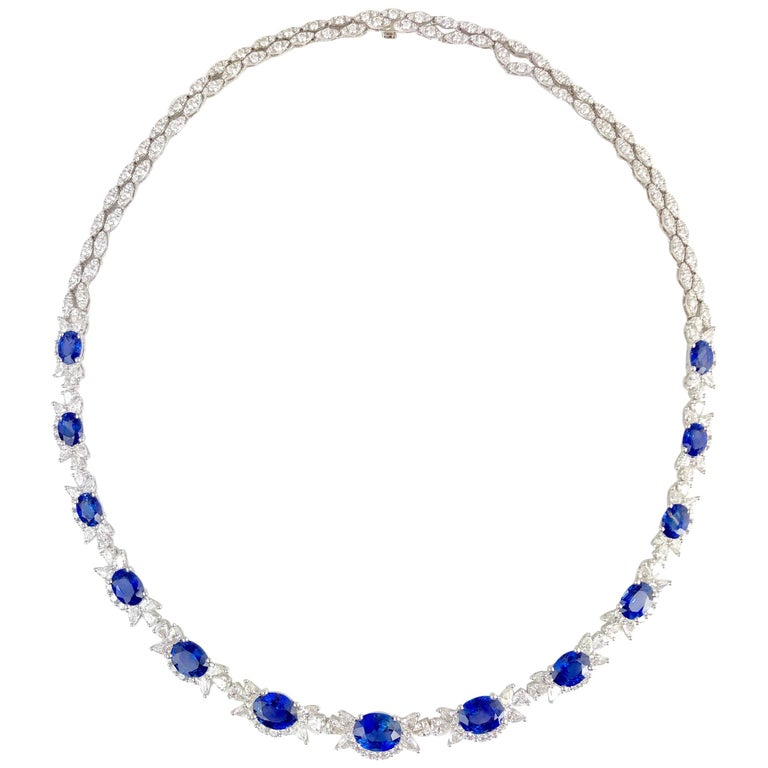19.36 Carat Oval Cut Blue Sapphire and Diamond Necklace in 18 Karat White Gold For Sale