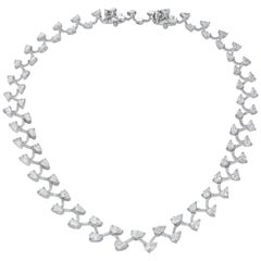 19.36 Carat Pear Round Brilliant Diamond 18 Karat White Gold Necklace