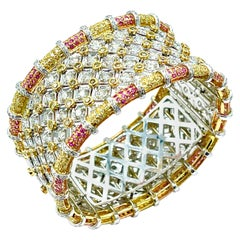 19.36 Carat Round Brilliant Diamond and Pink Sapphire 18K Gold Cuff Bracelet