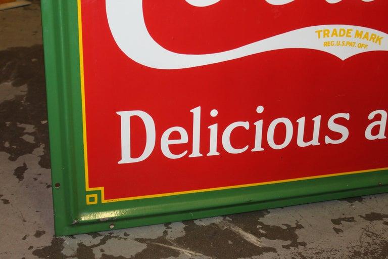 1936 Coca-Cola Porcelain Fountain Service Sign For Sale 5