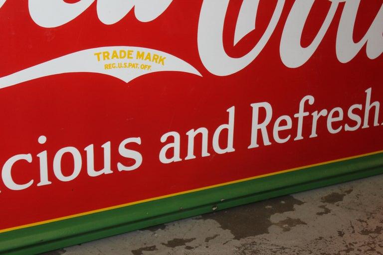 1936 Coca-Cola Porcelain Fountain Service Sign For Sale 6