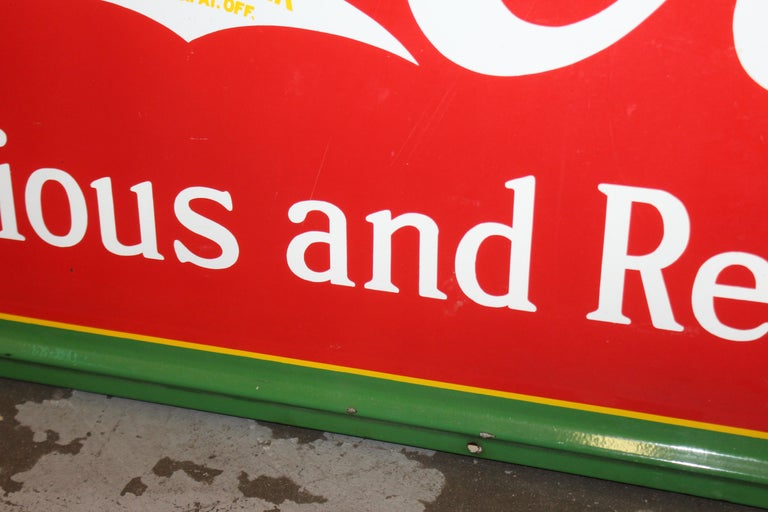1936 Coca-Cola Porcelain Fountain Service Sign For Sale 8