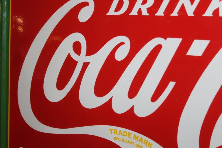 1936 Coca-Cola Porcelain Fountain Service Sign For Sale 10