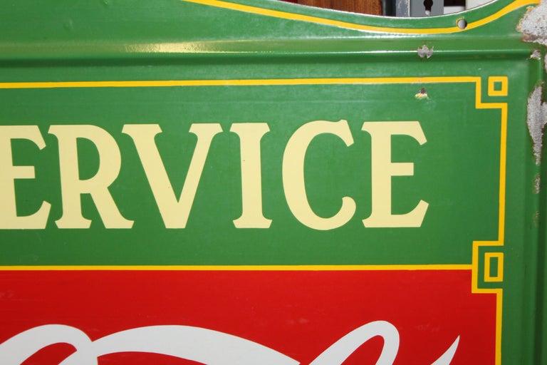 1936 Coca-Cola Porcelain Fountain Service Sign For Sale 11