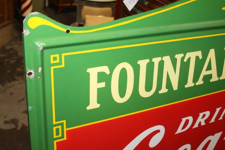1936 Coca-Cola Porcelain Fountain Service Sign For Sale 13