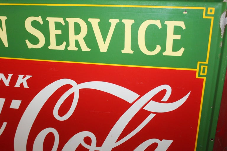 Mid-20th Century 1936 Coca-Cola Porcelain Fountain Service Sign For Sale