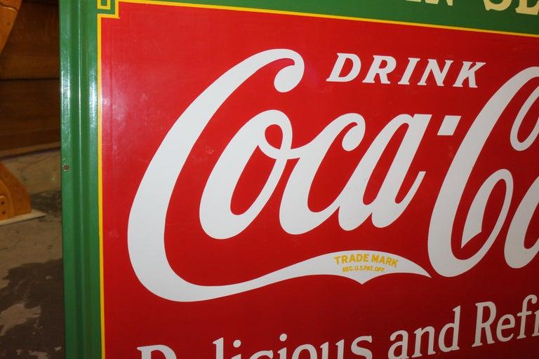 1936 Coca-Cola Porcelain Fountain Service Sign For Sale 4