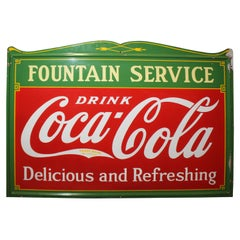 1936 Coca-Cola Porcelain Fountain Service Sign