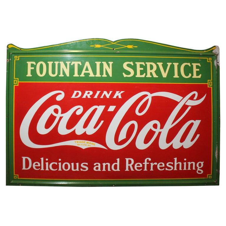 1936 Coca-Cola Porcelain Fountain Service Sign For Sale
