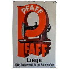 1936 Porcelain Advertising Sign for Sewing Machines Pfaff