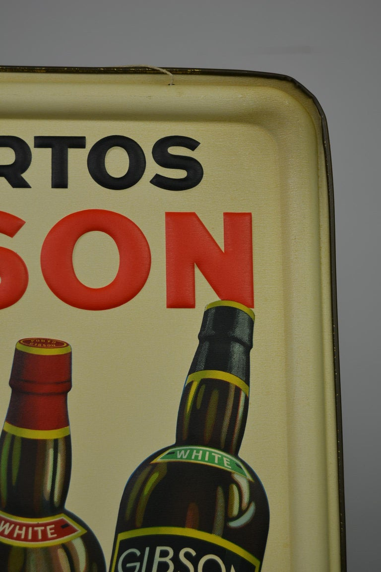 1936 Tin Sign for Les Portos Gibson, Appetizer Drink For Sale 4