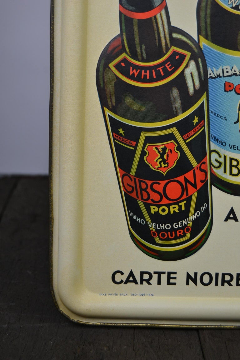 1936 Tin Sign for Les Portos Gibson, Appetizer Drink For Sale 6