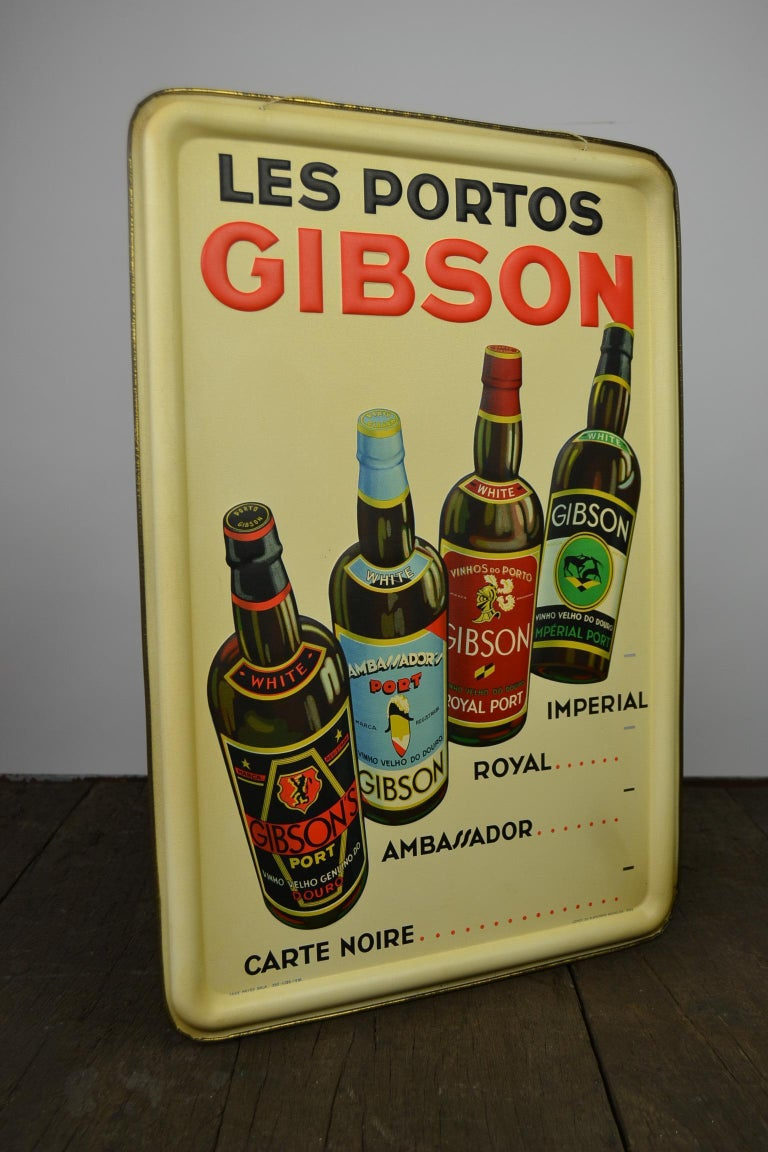 1936 Tin Sign for Les Portos Gibson, Appetizer Drink For Sale 7