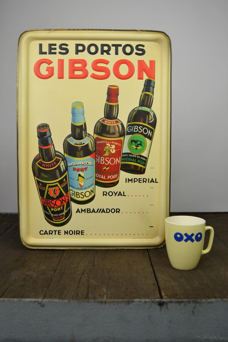 1936 Tin Sign for Les Portos Gibson, Appetizer Drink For Sale 11