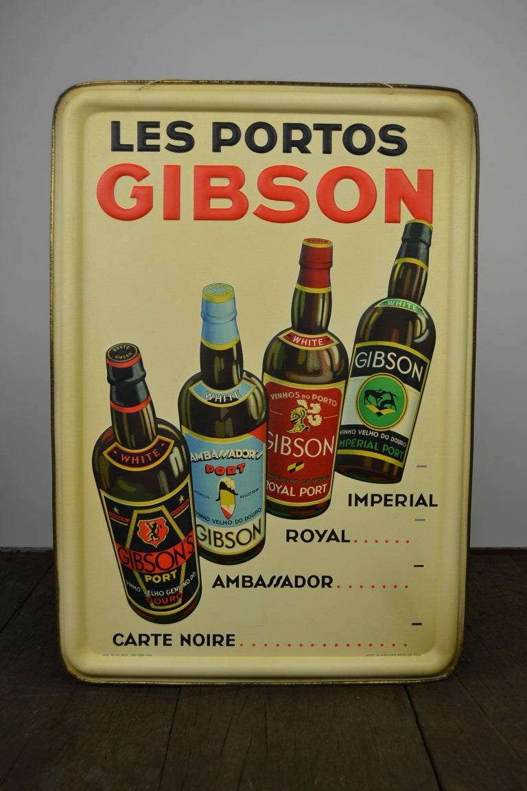 1936 Tin Sign for Les Portos Gibson, Appetizer Drink For Sale 12