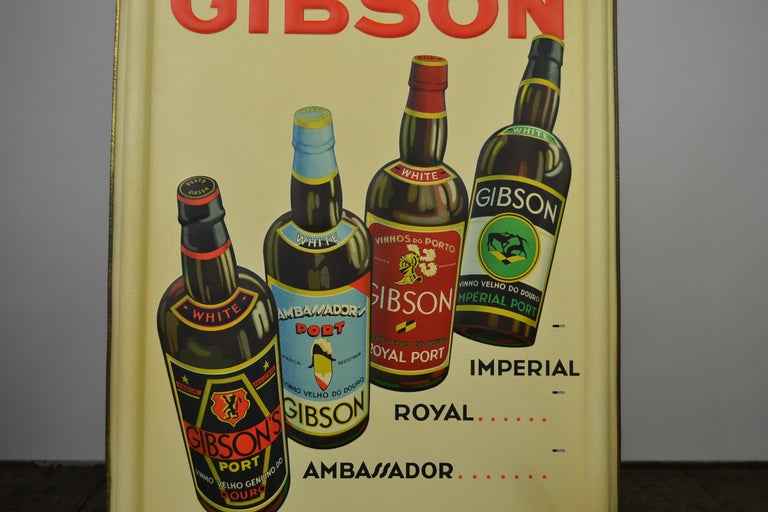 Art Deco 1936 Tin Sign for Les Portos Gibson, Appetizer Drink For Sale