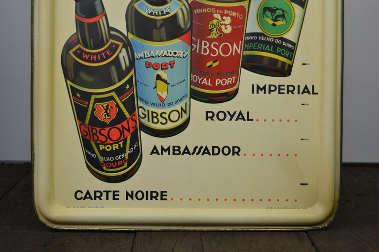 European 1936 Tin Sign for Les Portos Gibson, Appetizer Drink For Sale