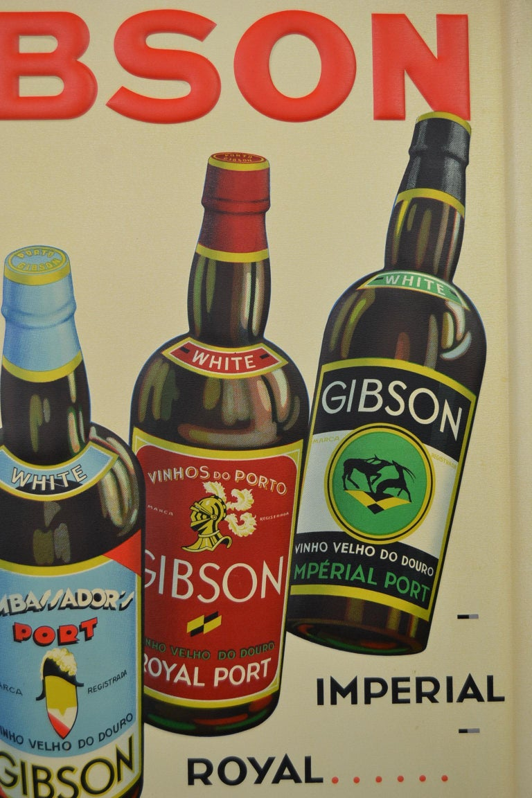 1936 Tin Sign for Les Portos Gibson, Appetizer Drink For Sale 2