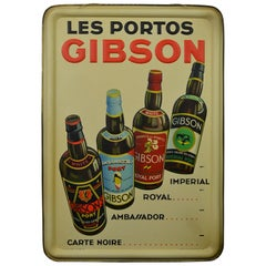 1936 Tin Sign for Les Portos Gibson, Appetizer Drink