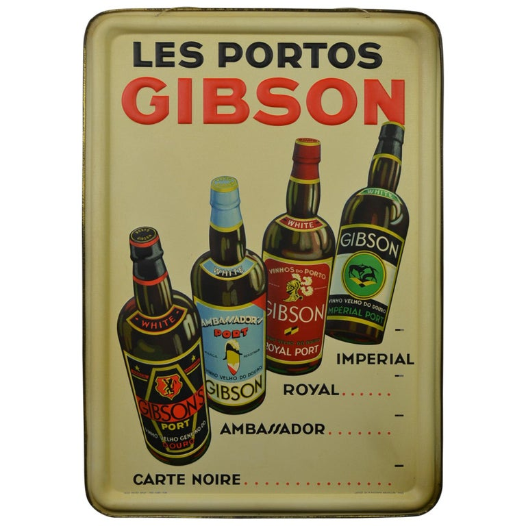 1936 Tin Sign for Les Portos Gibson, Appetizer Drink For Sale