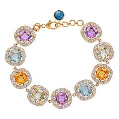 19.37 Carat Briolettes and Diamonds 18 Karat Yellow Gold Bracelet