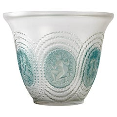 1937 René Lalique Driades Vase Frosted Glass with Blue Patina