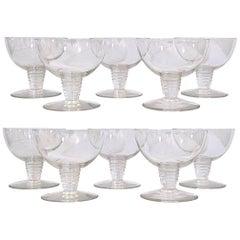 1937 René Lalique Set of 10 Champagne Glasses Tonnerre