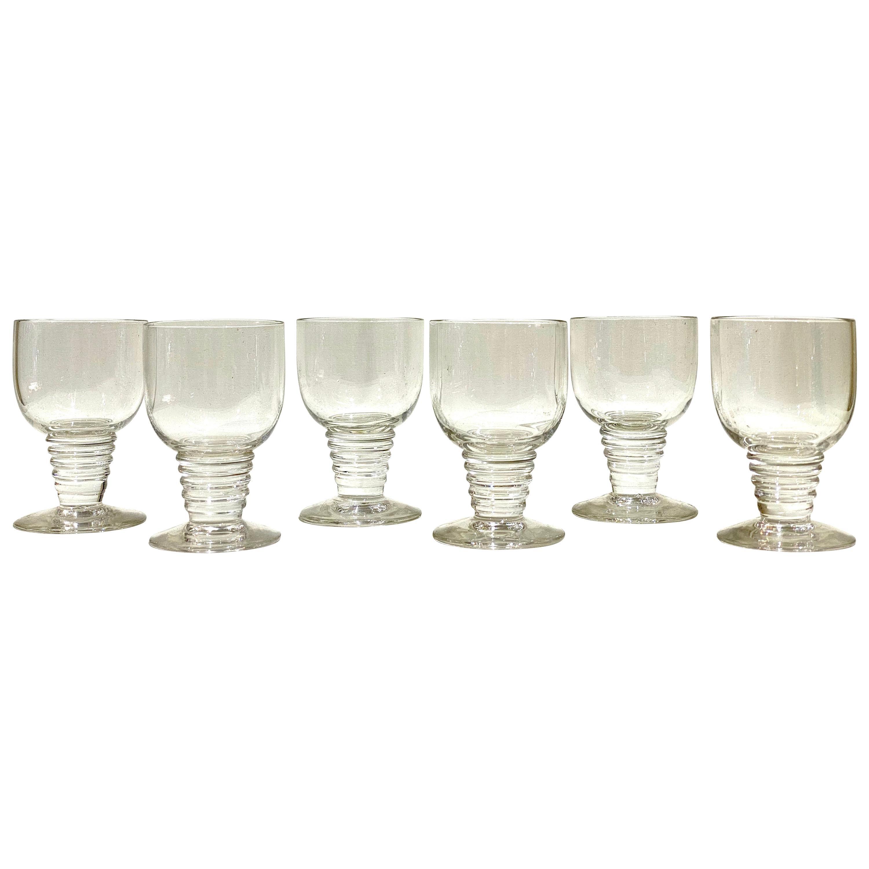 1937 René Lalique Set of 6 Pieces Glasses Tonnerre
