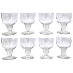 1937 René Lalique Set of 8 Wine Glasses Tonnerre