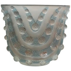 1937 René Lalique Vichy Vase in Frosted and Blue Stained Glass, Flowers