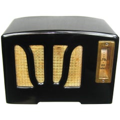 1938 Black and White RCA W Grill Catalin Bakelite Radio