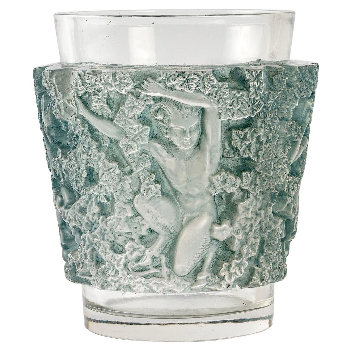 1938 René Lalique Bacchus Vase in Frosted Glass with Blue Patina