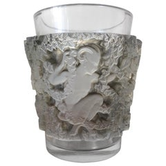 1938 René Lalique Bacchus Vase in Frosted Glass with Brown Sepia Stain