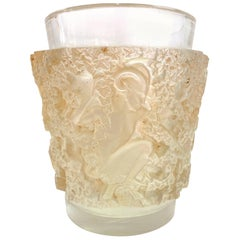 1938 René Lalique Bacchus Vase in Frosted Glass with Sepia Stain