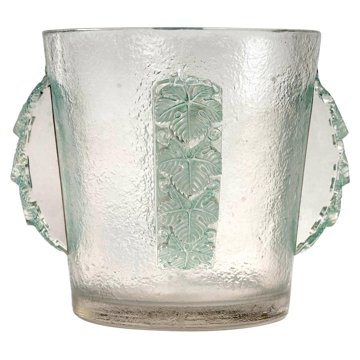 1938 René Lalique Epernay Ice Bucket Vase Frosted Glass with Green Patina