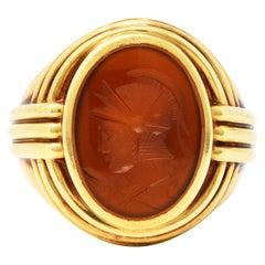 1939 Jones & Woodland Co. Carnelian Intaglio 14 Karat Gold Warrior Signet Ring