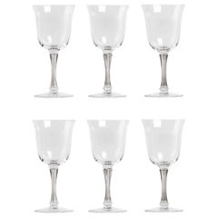 1939 René Lalique Set of 6 Pieces Glasses Barsac Grey Patina
