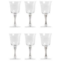 1939 René Lalique Set of 6 Pieces Glasses Barsac Grey Patina