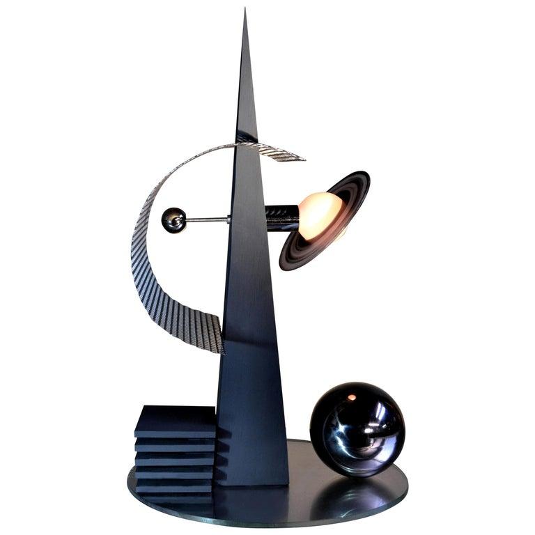 """/ ART DONOVAN /  """"1939""""  Nickel, Metallic Gray, Wood, Illuminated Sculpture For Sale"""