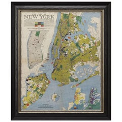"1939 Vintage Map ""The City of New York"" by Richard Edes Harrison"