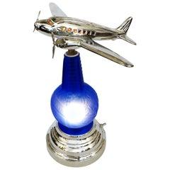 1939 World's Fair Light Up Bottle Airplane Lamp