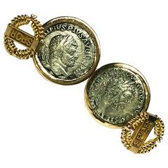 194-215 A.D. Septimius Severus Caracalla Roman Coin 18 Karat Gold Cufflinks