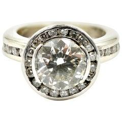 1.94 Carat Diamond EGL Cert. Engagement Ring Diamond Halo 14k White Gold Mount